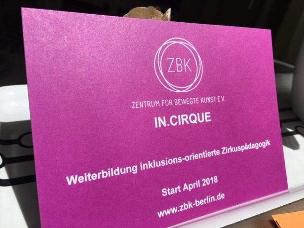 IN.CIRQUE– Weiterbildung inklusionsorientierte Zirkuspädagogik
